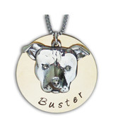 Large Pit Bull Face with Name Necklace