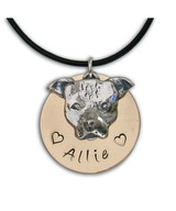 Small Pit Bull Face with Name Necklace
