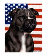 Black & White Pit Bull and American Flag Garden Flag