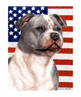 Gray & White Pit Bull and American Flag Garden Flag