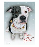 Pit Bull Peace Christmas Cards (Pack of 10) Black and White Pit Bull