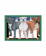 Staffie Trio Pit Bull Terrier Christmas Cards (Pack of 10)