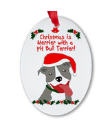 """""""Christmas is Merrier with a Pit Bull"""" Oval Porcelain Ornament (Gray)"""
