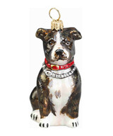 Pit Bull Christmas Ornament – Glass – Brindle