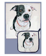 Pit Bull Dishtowel Potholder Set (Black & White)