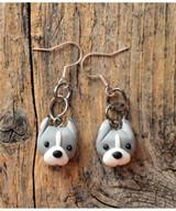 Itty Bitty Pittie Earrings (Gray - Cropped Ears)