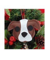 Pit Bull Ornament - Brown & White - Natural Ears