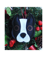 Pit Bull Ornament - Black & White - Cropped Ears