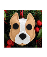 Pit Bull Ornament - Tan & White - Cropped Ears