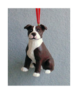 Hand-painted Pit Bull Christmas Ornament – Brown and White