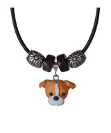 Tan and White Pit Bull Necklace
