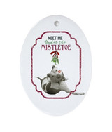 """Meet Me Under the Mistletoe"" Pit Bull Oval Porcelain Ornament"