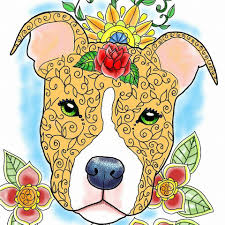 Pit Bull Coloring Book Art of Pibble