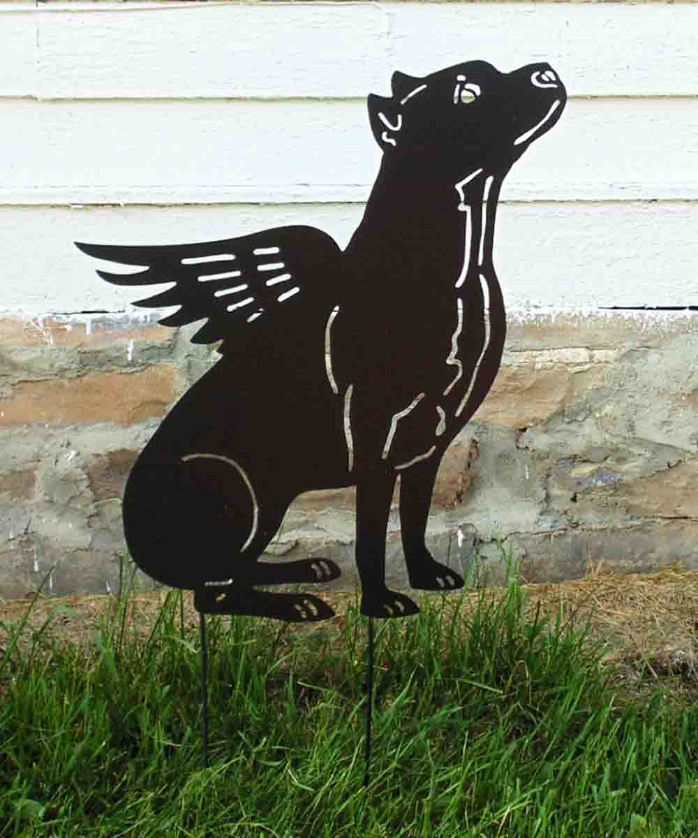 Winged Pit Bull Garden Stake