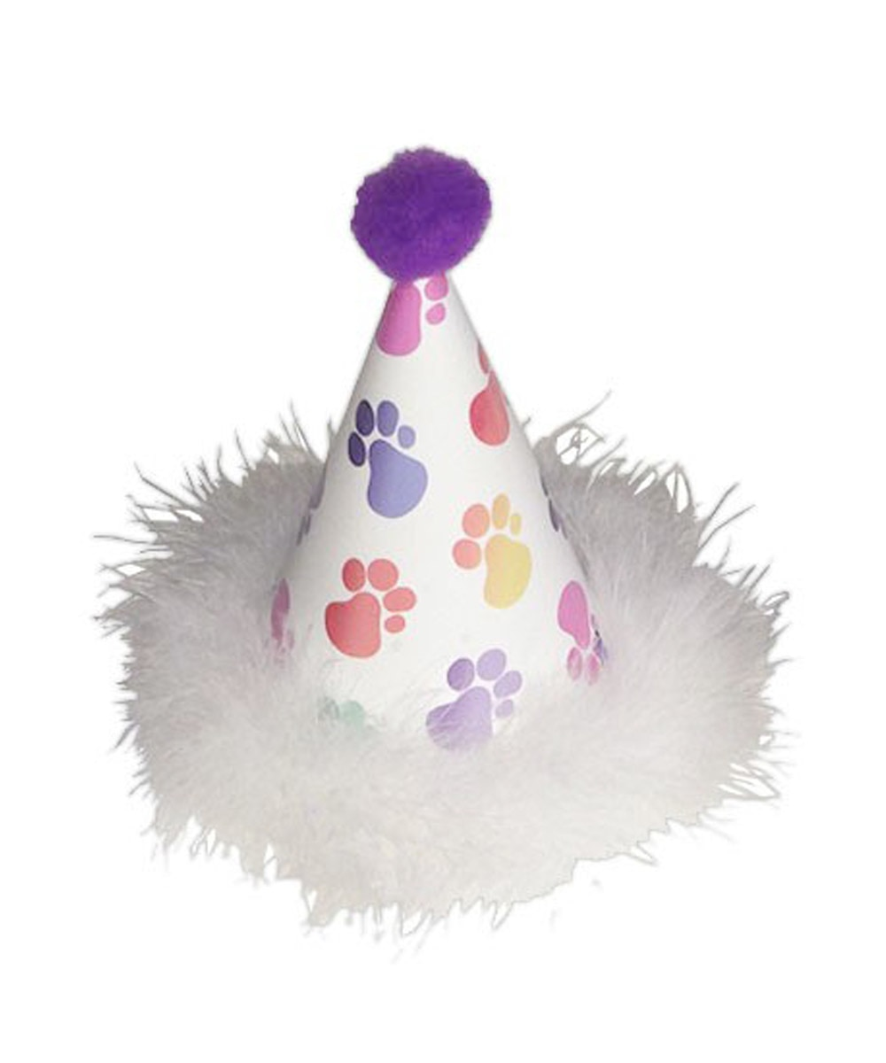 Rainbow Paw Print Dog Birthday Hat With Feathers