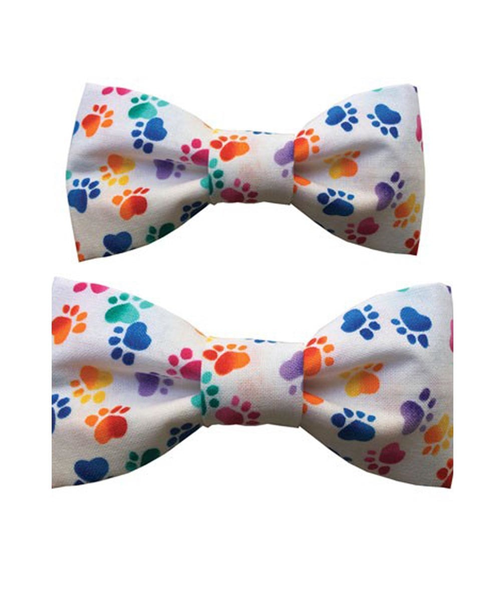 Dog Bow Tie Party Rainbow Paw Print