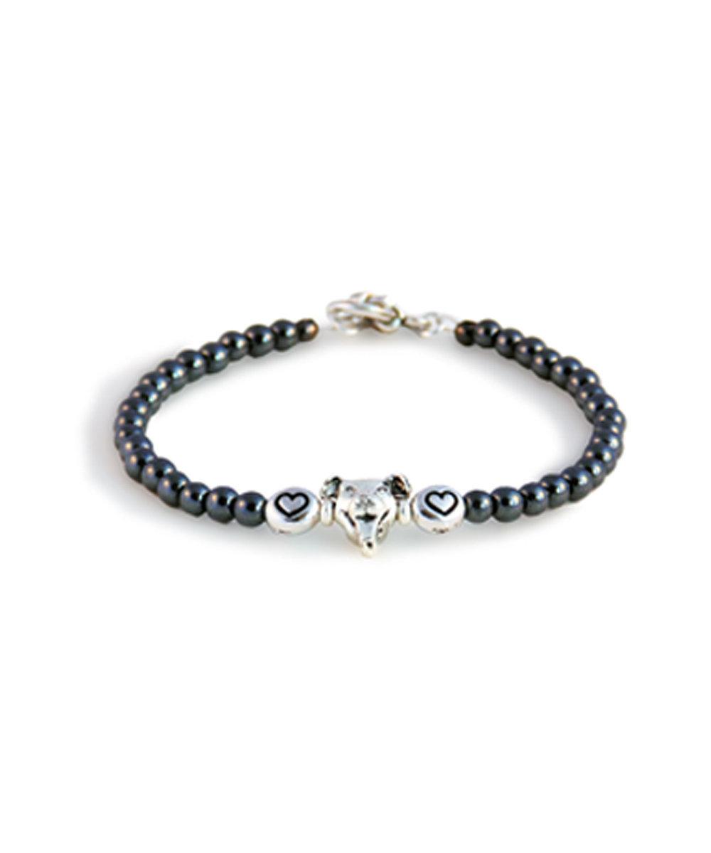 Two Hearts Pit Bull Hematite Bracelet