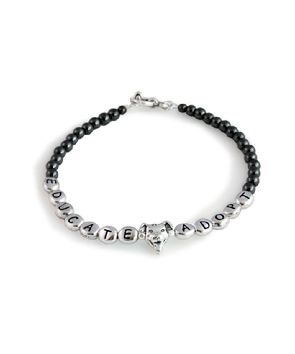 Educate - Adopt Pit Bull Hematite Bracelet