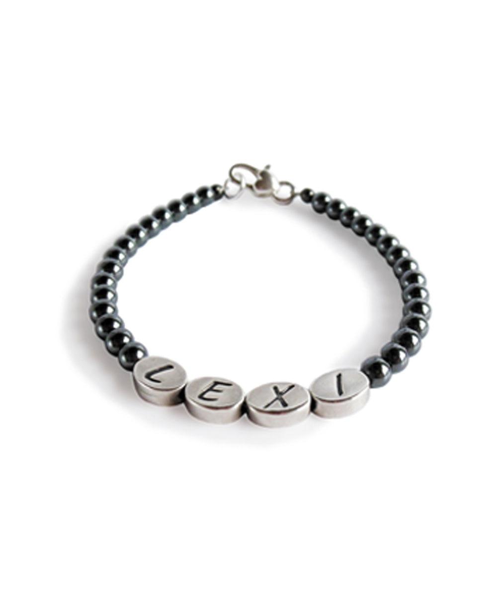 Custom Pit Bull Name Hematite Bracelet
