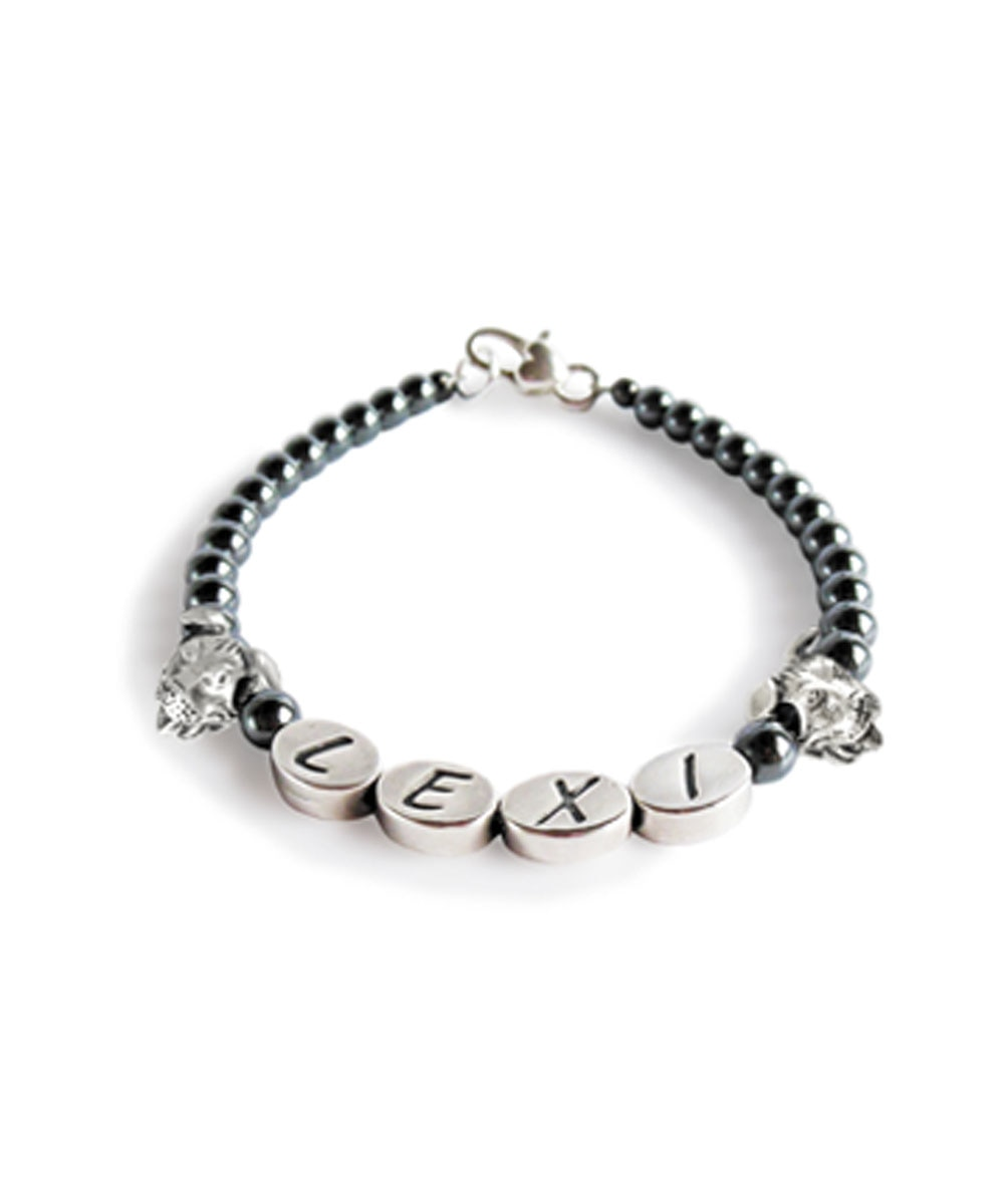 Custom Pit Bull Name Hematite Bracelet with Pit Bull Charms