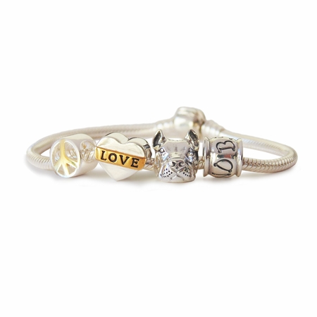 Peace Love and Pit Bulls Charm Bracelet (Cropped Ear Pit Bull)