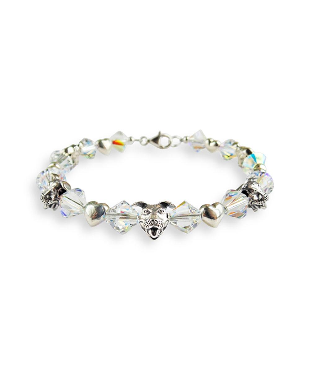 Sterling Silver Pit Bulls and Crystals Bracelet