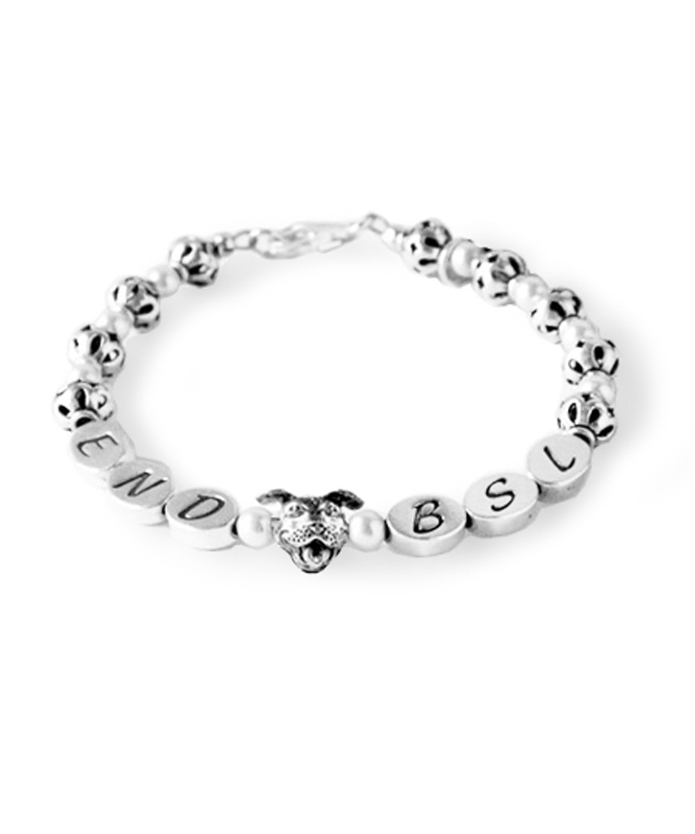 Sterling Silver END BSL Pit Bulls and Pearls Bracelet