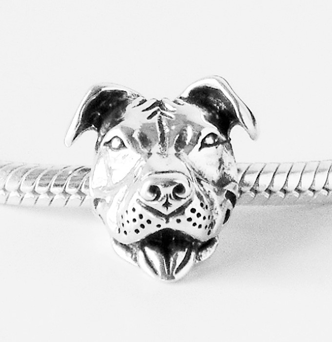 Pit Bull Charm - Sterling Silver Smiling Pit Bull