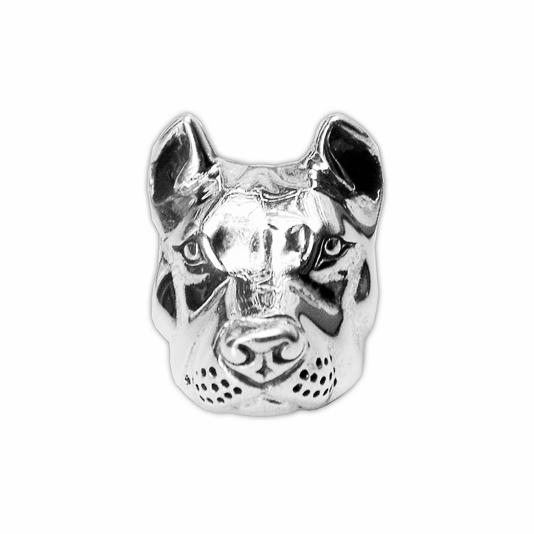 Pit Bull Charm - Sterling Silver Peaceful - Cropped Ears