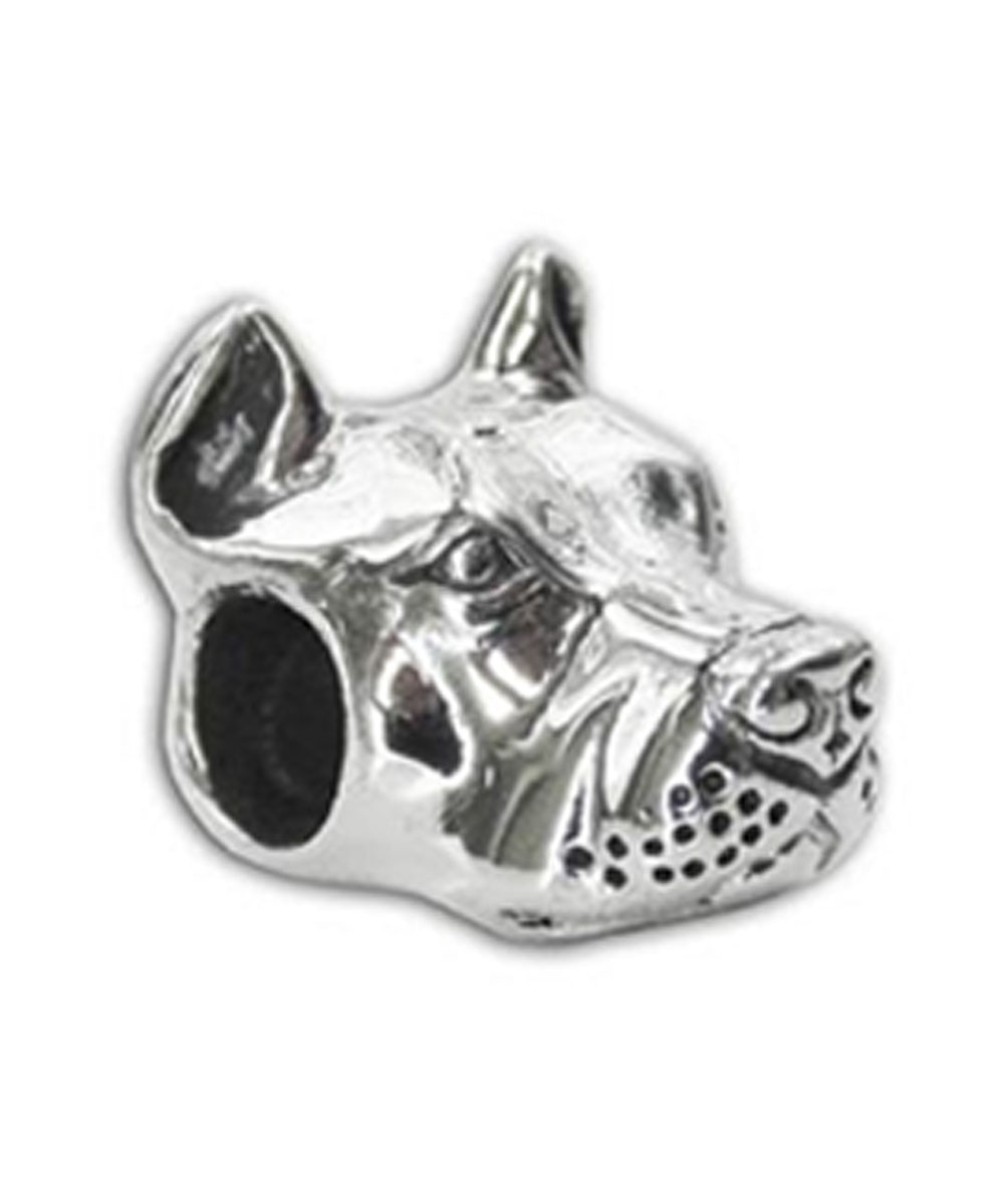 Sterling Silver Cropped Ear Pit Bull Charm