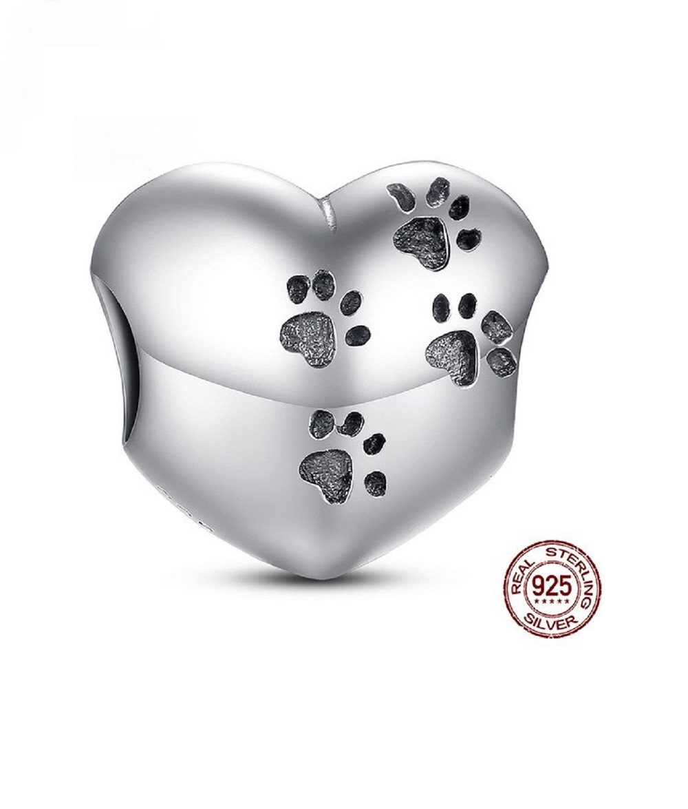 Sterling Silver Heart Shaped Charm with Pawprints