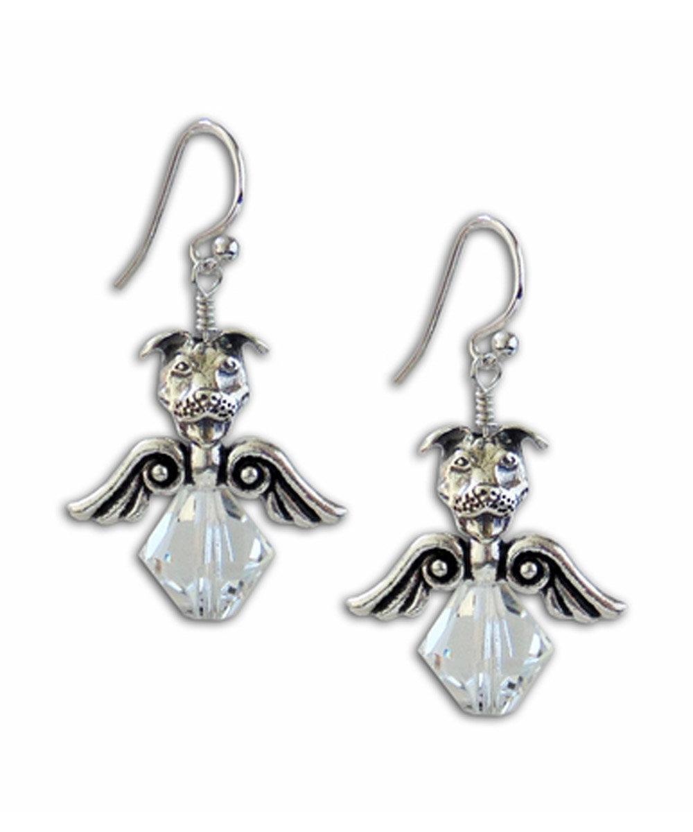 Crystal Pit Bull Angel Earrings