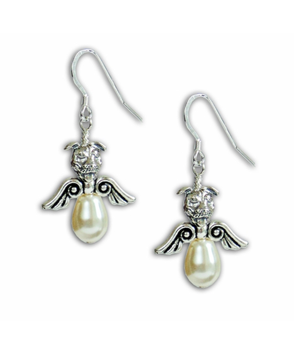 Pearl Pit Bull Angel Earrings