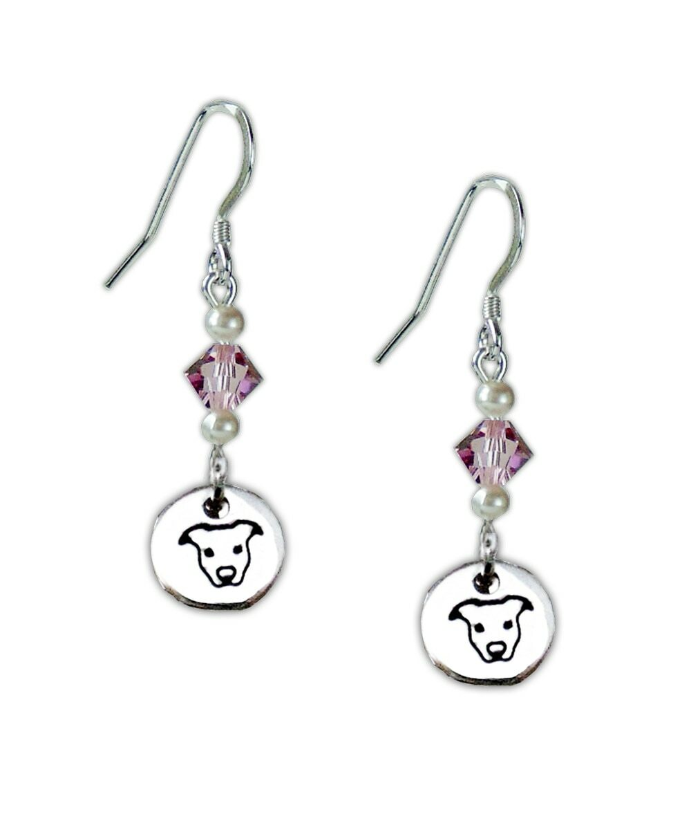 Sterling Silver Pit Bull and Crystal Earrings
