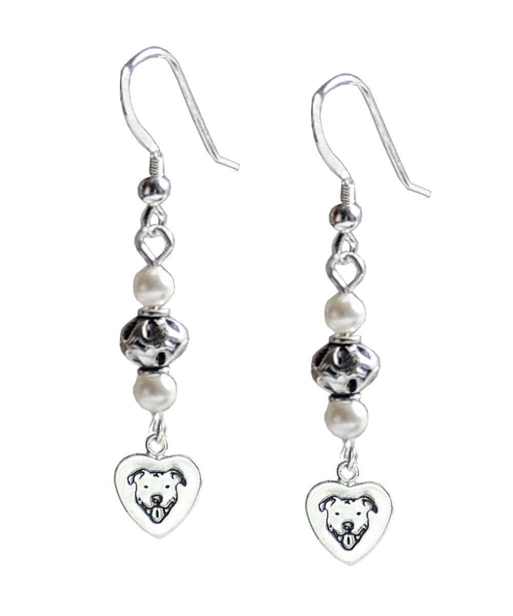 Sterling Silver Pit Bull and Pearl Earrings