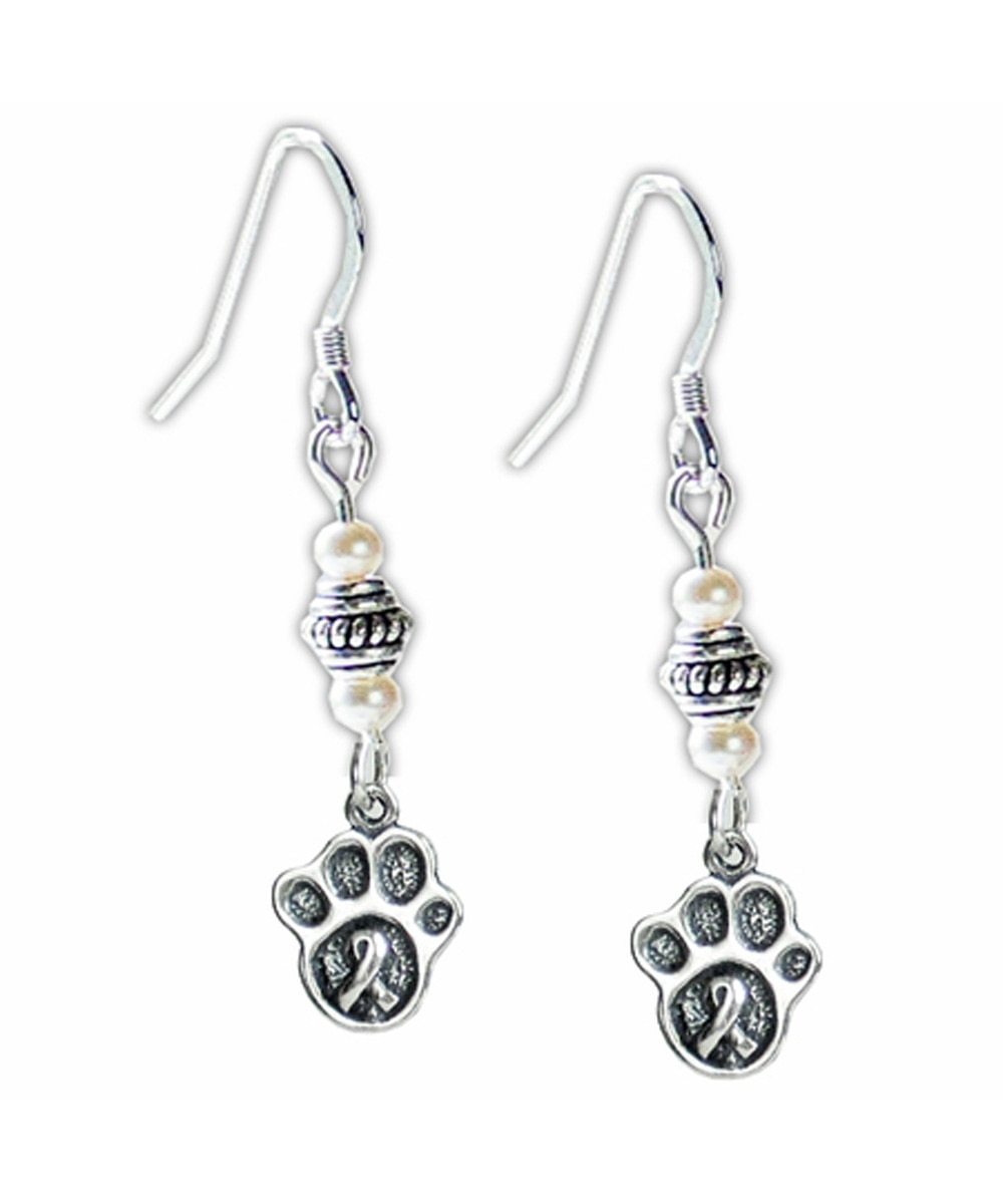 Sterling Silver Paw Print with Awareness Ribbon Earrings