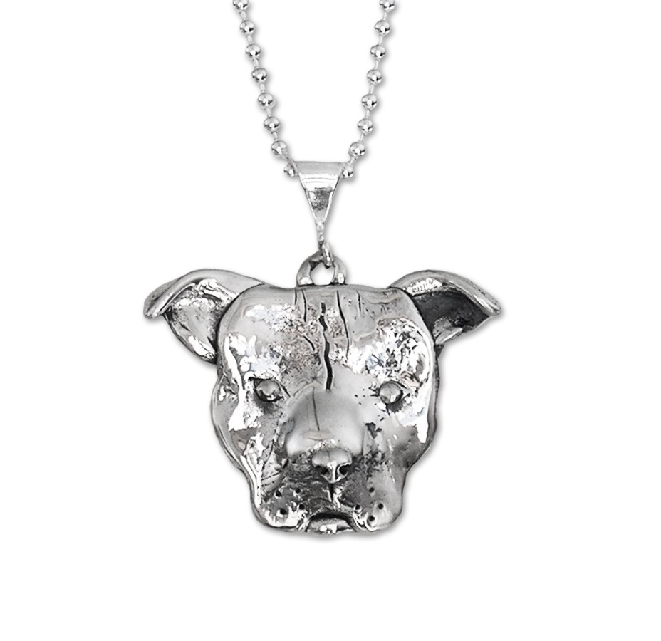 Large Pit Bull Face Necklace