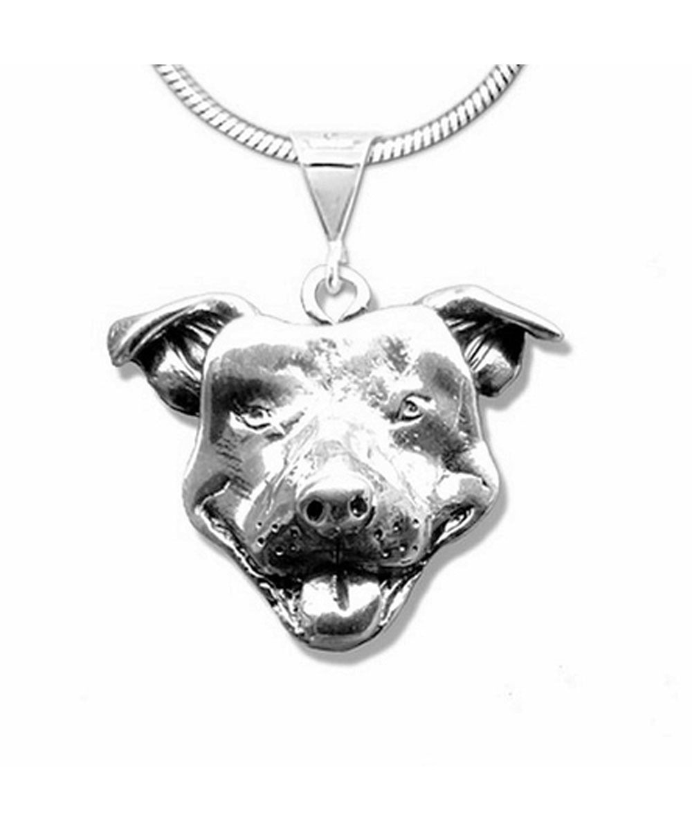 Large Smiling Pit Bull Face Necklace