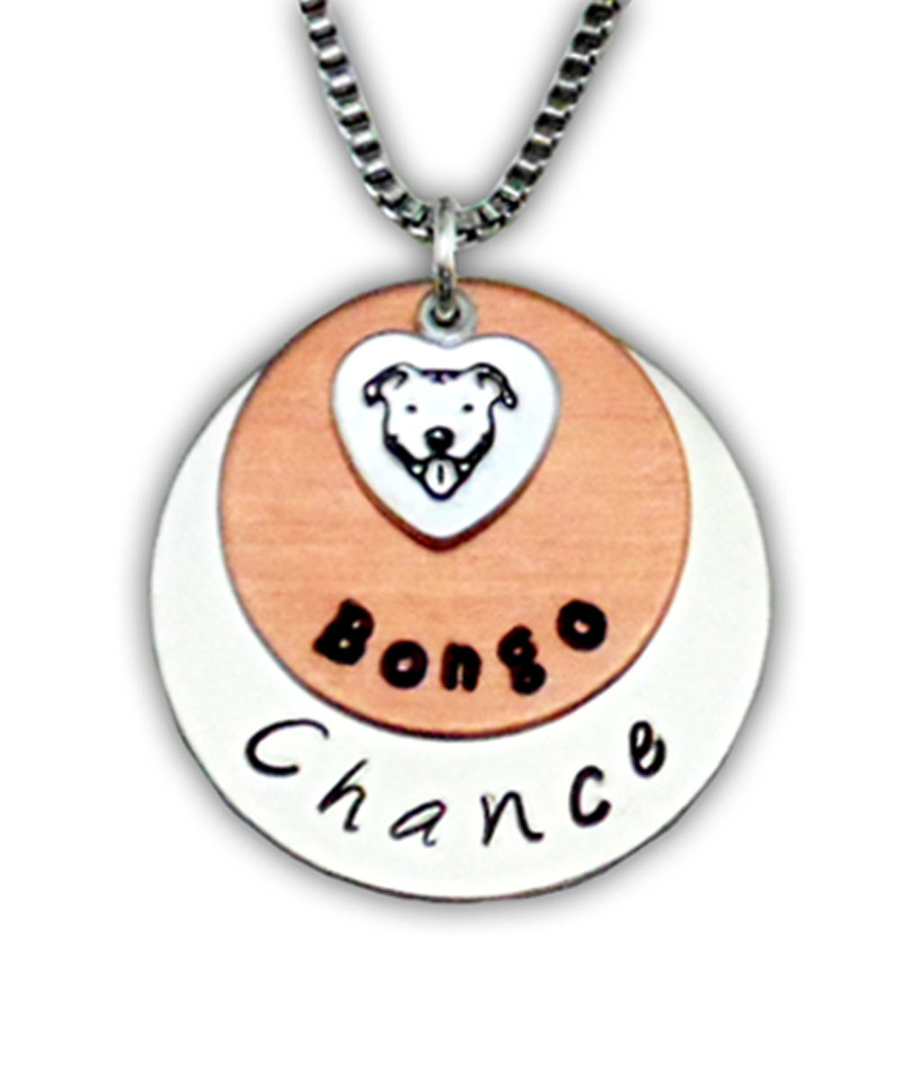 Silver and Copper Custom Name Pit Bull Necklace