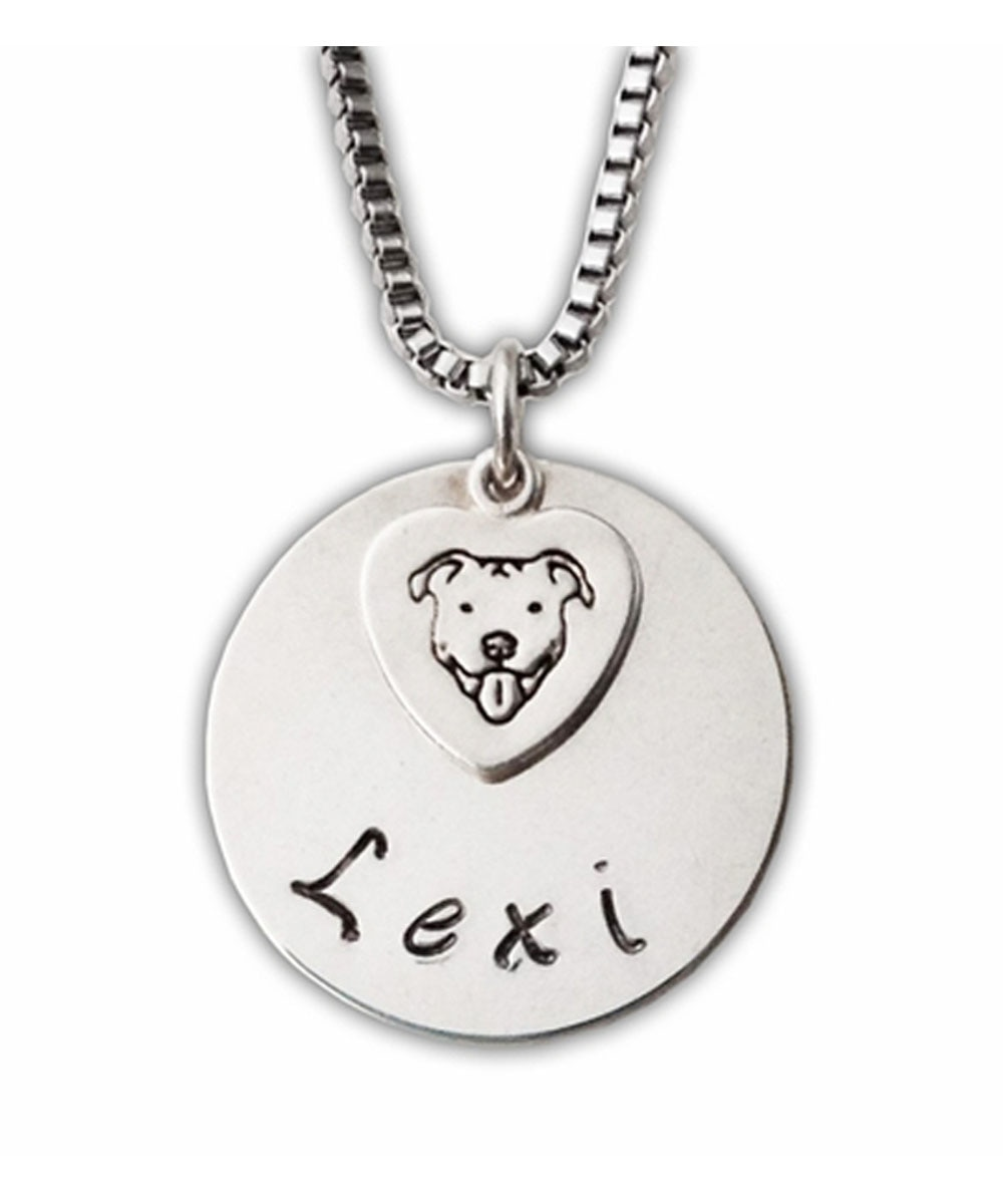 Sterling Silver Custom Name Pit Bull Necklace