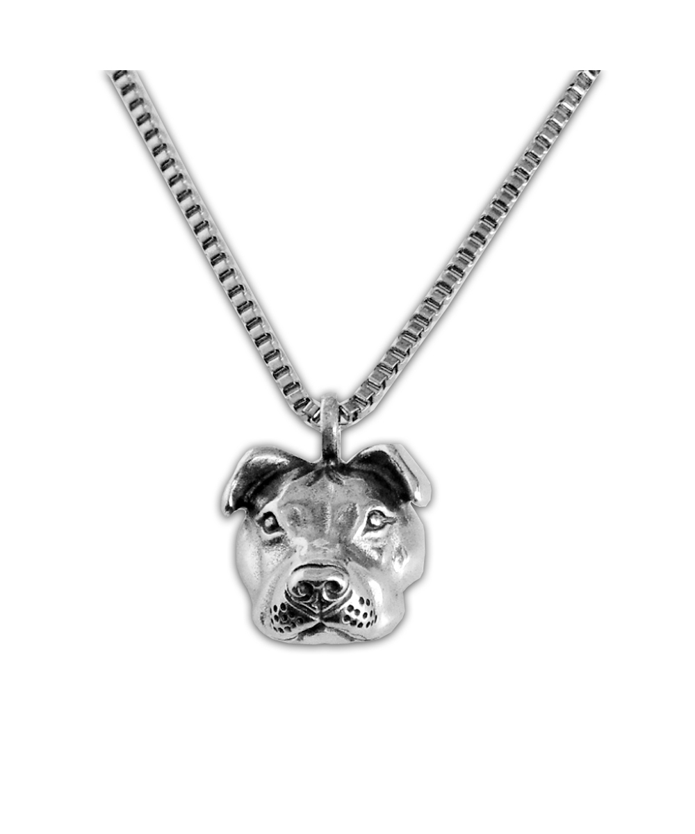 Sterling Silver Peaceful Pit Bull Charm Necklace
