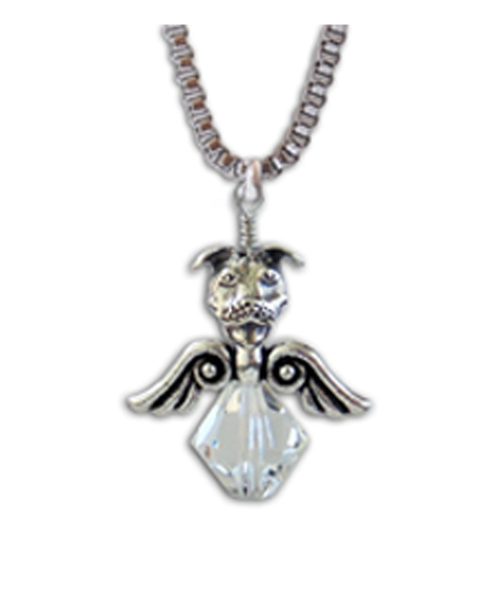 Crystal Angel Pit Bull Necklace