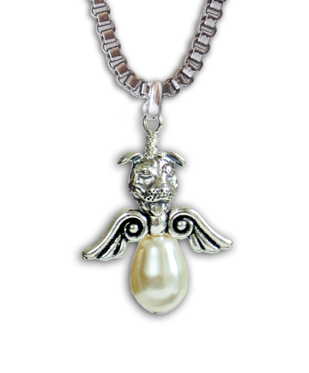Pearl Angel Pit Bull Necklace