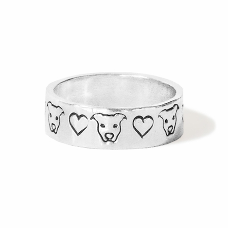 Pit Bull and Hearts Ring
