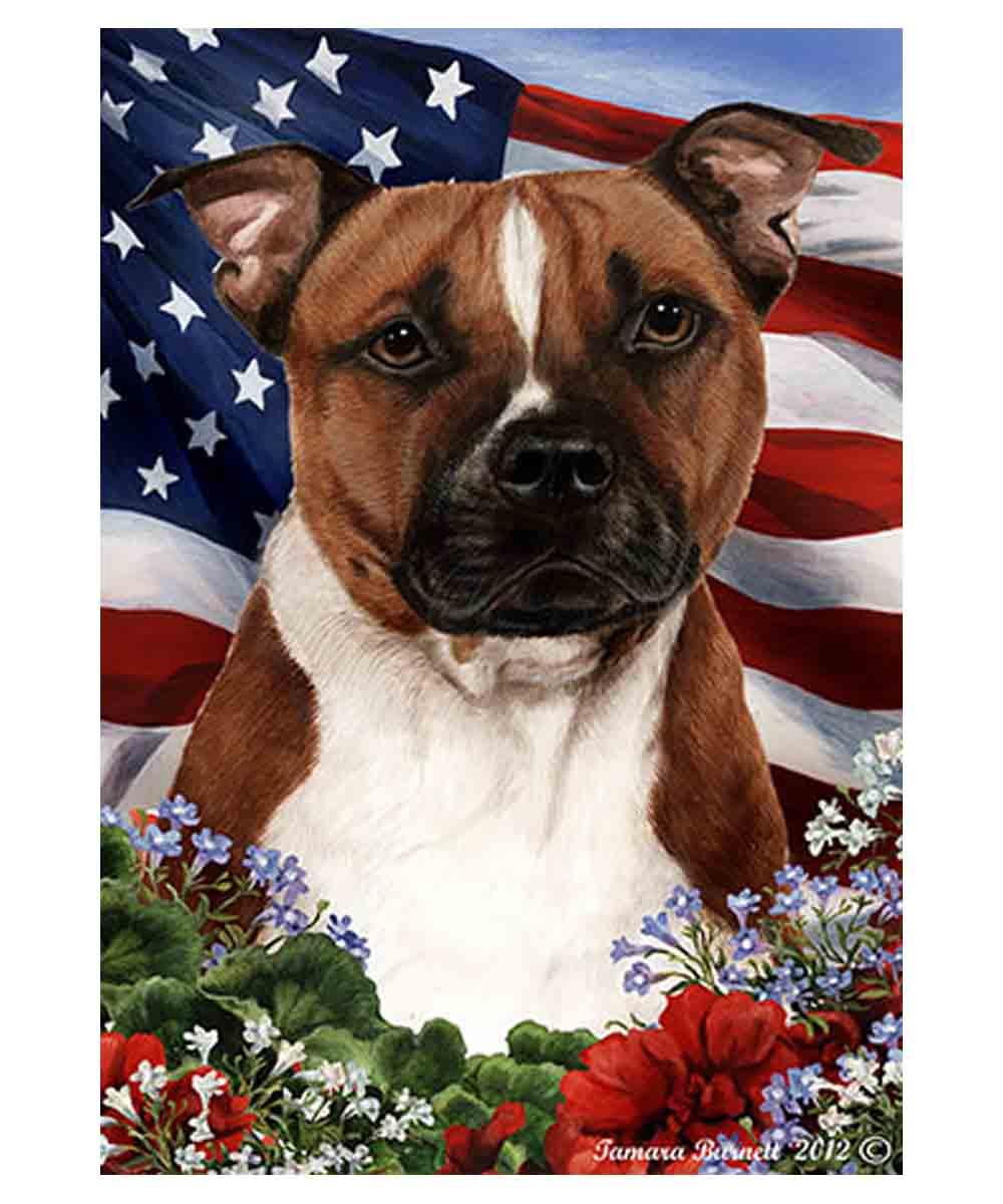 American Pit Bull American Flag Garden Flag