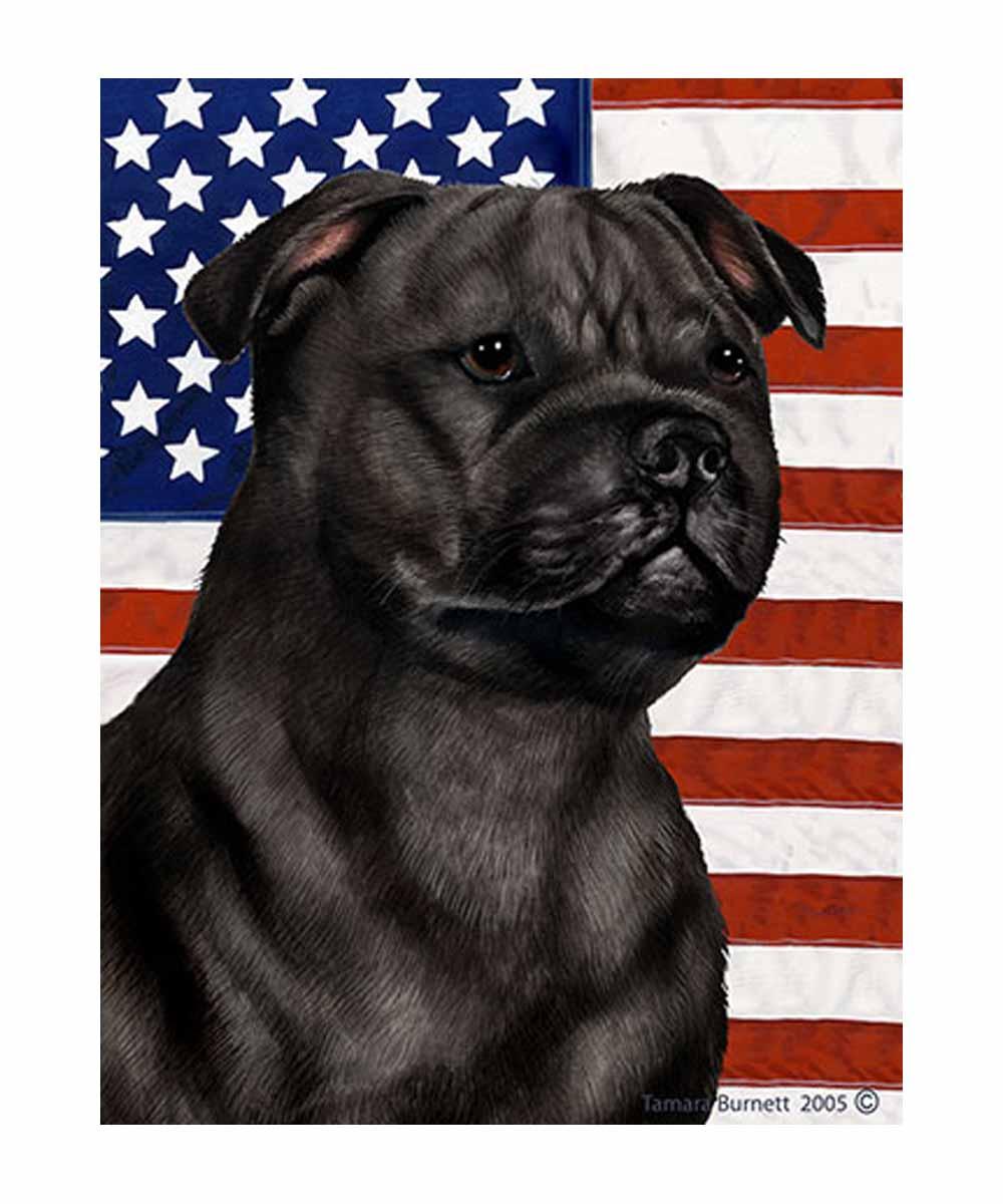 Black Pit Bull and American Flag Garden Flag