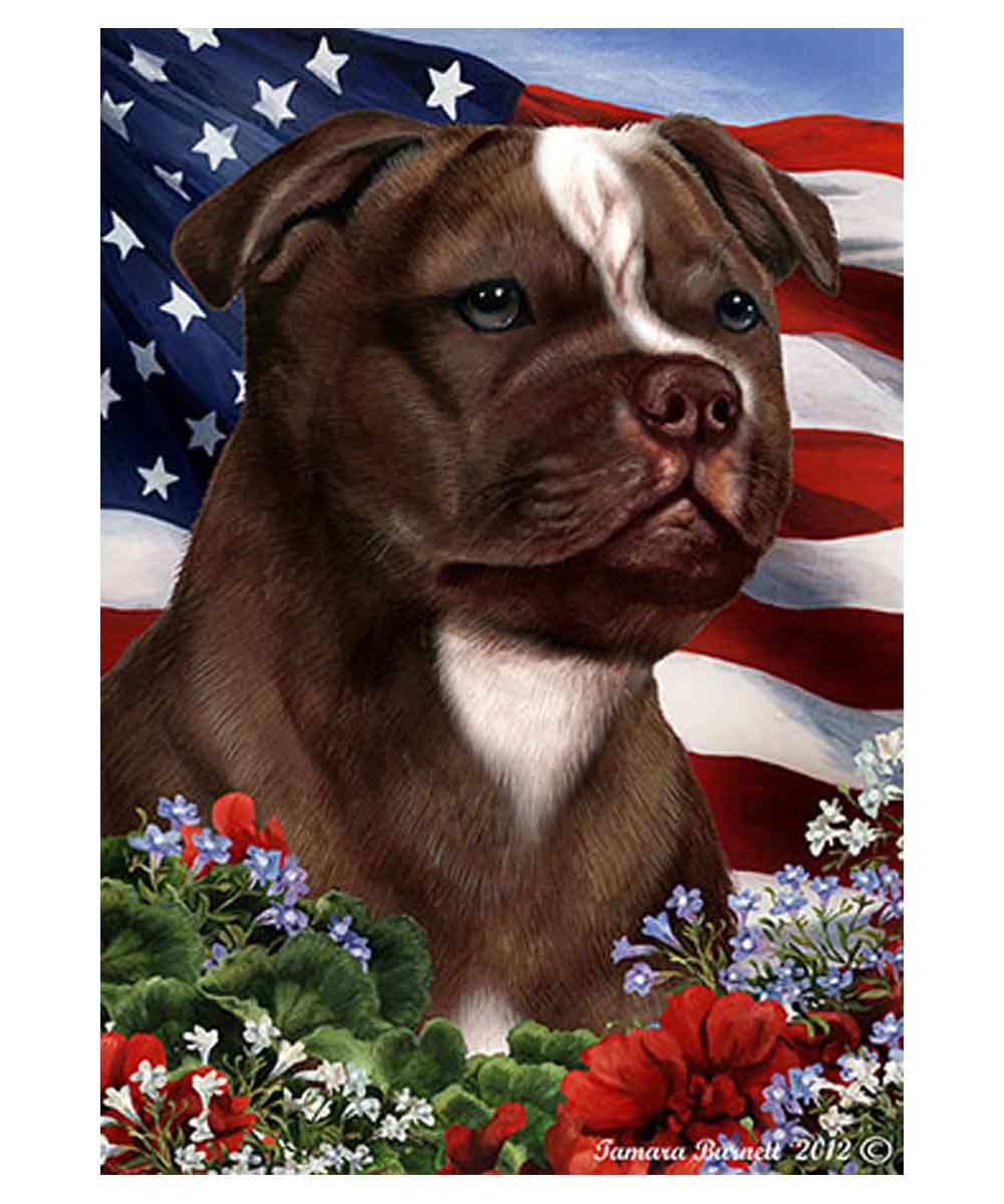 Brown Pit Bull and American Flag Garden Flag
