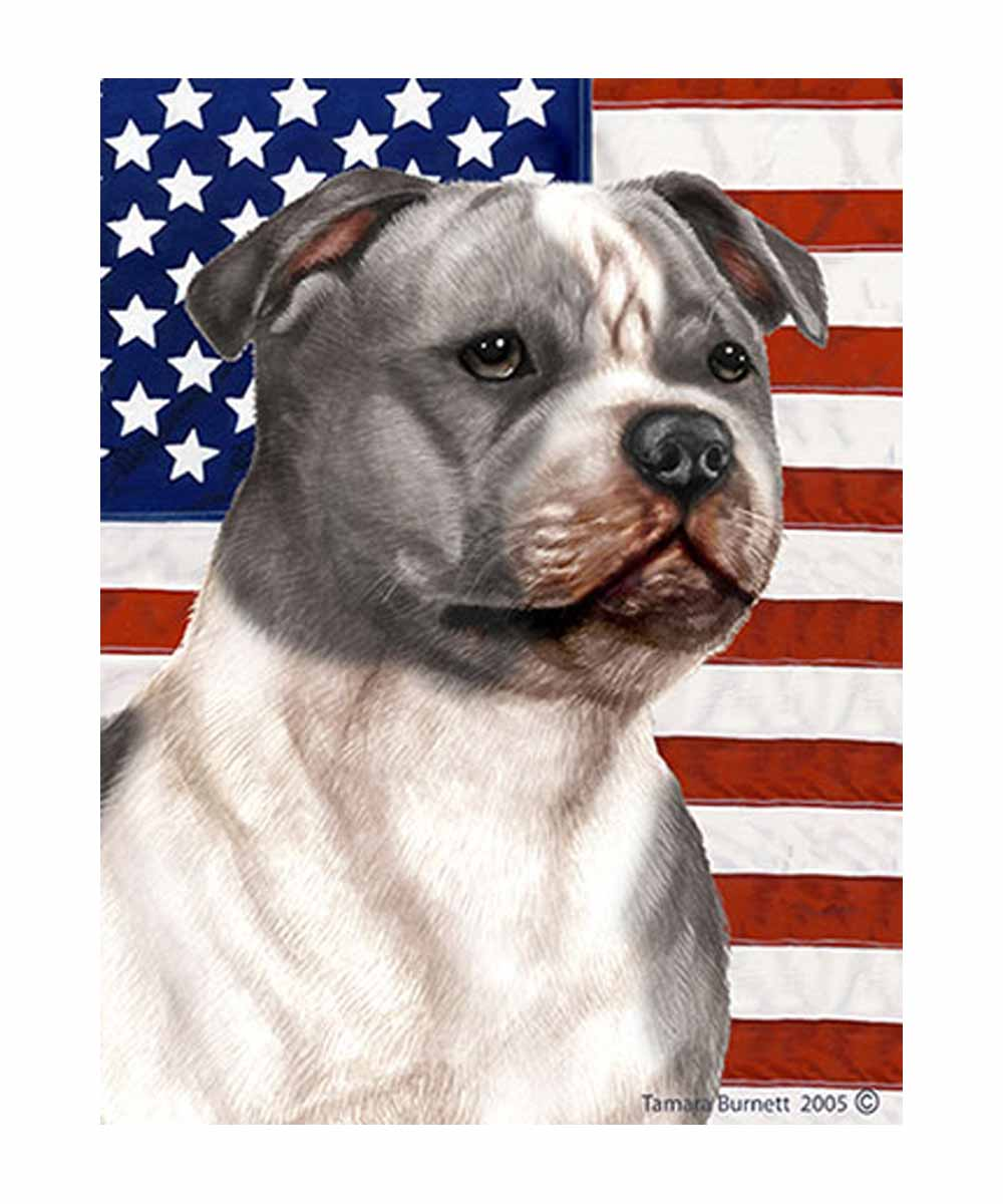 Gray & White Pit Bull and American Flag Garden Flag