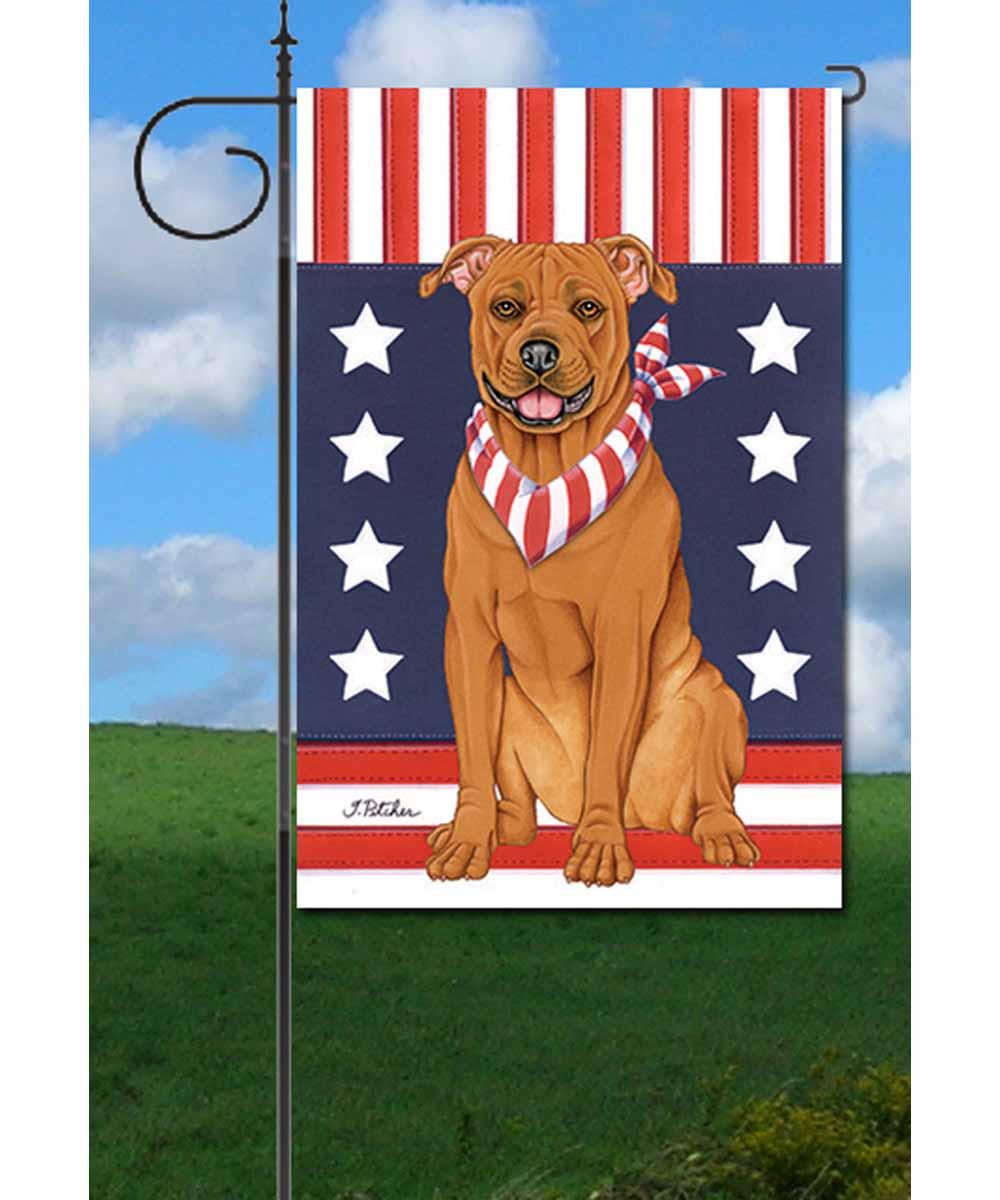 Patriotic Pit Bull Garden Flag