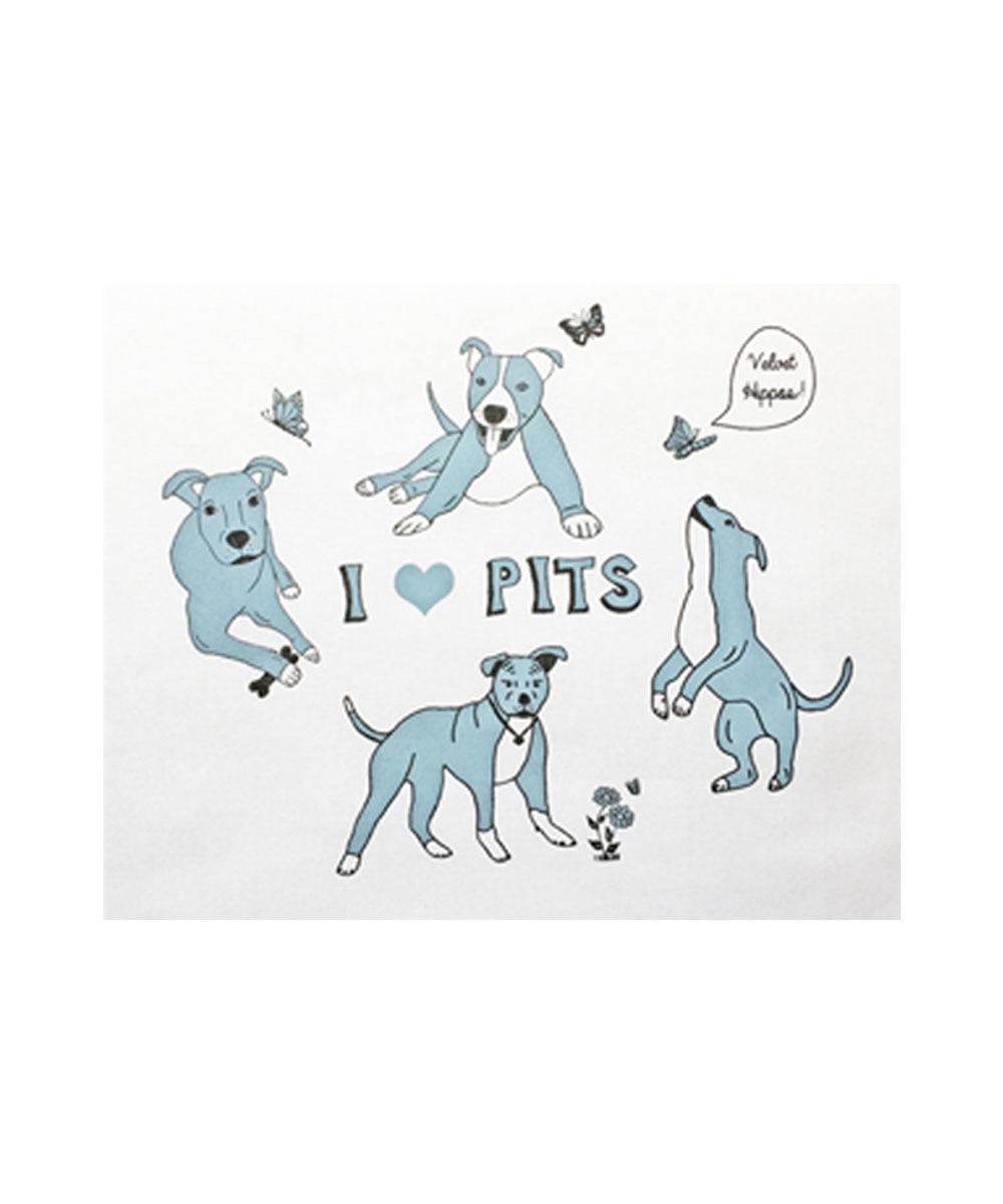 I Love Pit Bulls - Velvet Hippos Tea Towel (Blue)